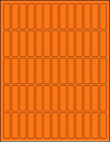 "Sheet of 0.5"" x 2"" Fluorescent Orange labels"