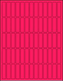 "Sheet of 0.5"" x 2"" Fluorescent Pink labels"