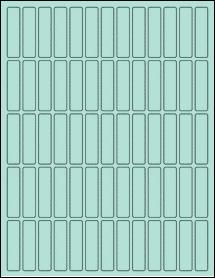 "Sheet of 0.5"" x 2"" Pastel Green labels"