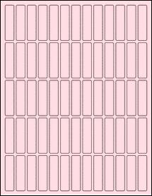 "Sheet of 0.5"" x 2"" Pastel Pink labels"