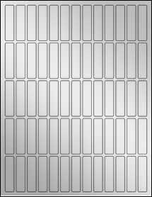 """Sheet of 0.5"""" x 2"""" Silver Foil Inkjet labels"""