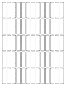 "Sheet of 0.5"" x 2"" Standard White Matte labels"