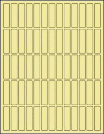 "Sheet of 0.5"" x 2"" Pastel Yellow labels"