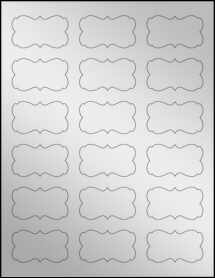 "Sheet of 2.2441"" x 1.2992"" Silver Foil Laser labels"