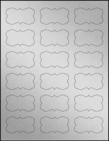 "Sheet of 2.2441"" x 1.2992"" Weatherproof Silver Polyester Laser labels"
