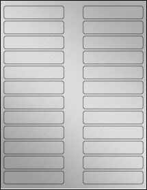 "Sheet of 3.5"" x 0.75"" Weatherproof Silver Polyester Laser labels"
