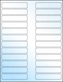 "Sheet of 3.5"" x 0.75"" White Gloss Laser labels"