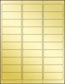 "Sheet of 2.625"" x 1"" Gold Foil Laser labels"