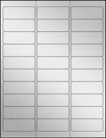 """Sheet of 2.625"""" x 1"""" Silver Foil Inkjet labels"""