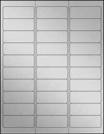 "Sheet of 2.625"" x 1"" Weatherproof Silver Polyester Laser labels"