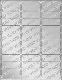 """Sheet of 2.625"""" x 1"""" Void Silver Polyester labels"""