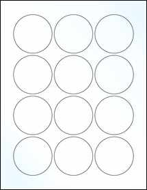 "Sheet of 2.25"" Circle Clear Gloss Laser labels"