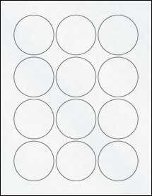 "Sheet of 2.25"" Circle Clear Matte Laser labels"