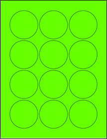 "Sheet of 2.25"" Circle Fluorescent Green labels"
