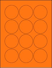 "Sheet of 2.25"" Circle Fluorescent Orange labels"