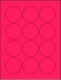 """Sheet of 2.25"""" Circle Fluorescent Pink labels"""