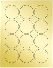 """Sheet of 2.25"""" Circle Gold Foil Laser labels"""