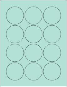 "Sheet of 2.25"" Circle Pastel Green labels"