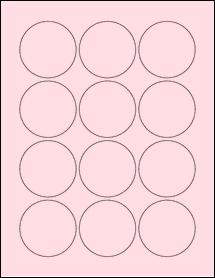"""Sheet of 2.25"""" Circle Pastel Pink labels"""