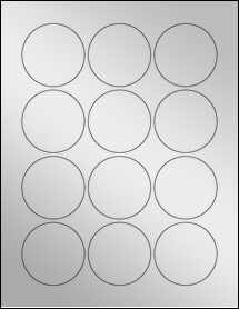 "Sheet of 2.25"" Circle Silver Foil Inkjet labels"