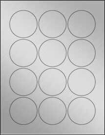 "Sheet of 2.25"" Circle Weatherproof Silver Polyester Laser labels"