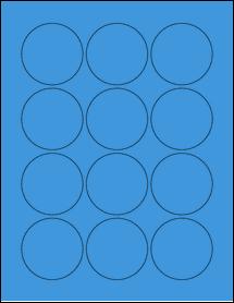 "Sheet of 2.25"" Circle True Blue labels"