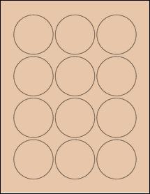 "Sheet of 2.25"" Circle Light Tan labels"