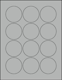 "Sheet of 2.25"" Circle True Gray labels"