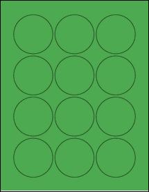 "Sheet of 2.25"" Circle True Green labels"