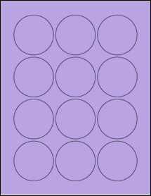 "Sheet of 2.25"" Circle True Purple labels"