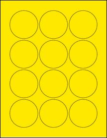 "Sheet of 2.25"" Circle True Yellow labels"