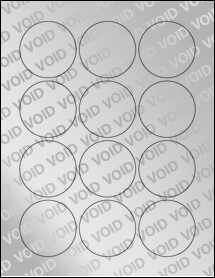 """Sheet of 2.25"""" Circle Void Silver Polyester labels"""