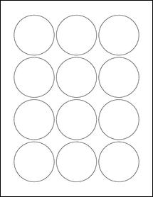 "Sheet of 2.25"" Circle Weatherproof Matte Inkjet labels"