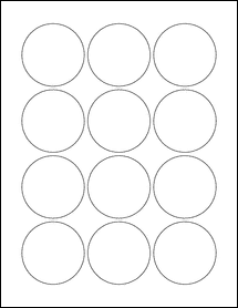 "Sheet of 2.25"" Circle Standard White Matte labels"