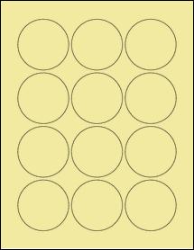 """Sheet of 2.25"""" Circle Pastel Yellow labels"""