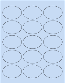 "Sheet of 2.5"" x 1.75"" Oval Pastel Blue labels"