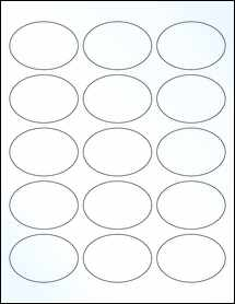 "Sheet of 2.5"" x 1.75"" Oval Clear Gloss Laser labels"