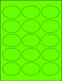"""Sheet of 2.5"""" x 1.75"""" Oval Fluorescent Green labels"""