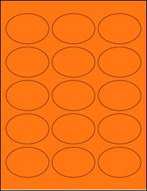 "Sheet of 2.5"" x 1.75"" Oval Fluorescent Orange labels"