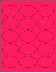 """Sheet of 2.5"""" x 1.75"""" Oval Fluorescent Pink labels"""