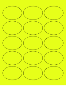 """Sheet of 2.5"""" x 1.75"""" Oval Fluorescent Yellow labels"""