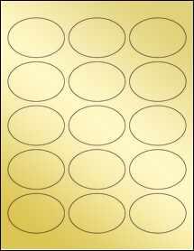 """Sheet of 2.5"""" x 1.75"""" Oval Gold Foil Inkjet labels"""