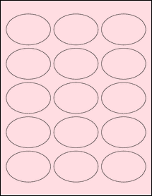 """Sheet of 2.5"""" x 1.75"""" Oval Pastel Pink labels"""