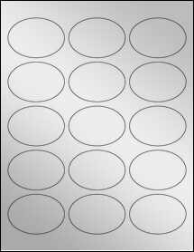 "Sheet of 2.5"" x 1.75"" Oval Silver Foil Inkjet labels"