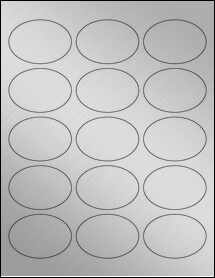 """Sheet of 2.5"""" x 1.75"""" Oval Weatherproof Silver Polyester Laser labels"""