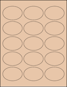 "Sheet of 2.5"" x 1.75"" Oval Light Tan labels"