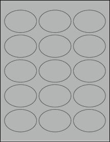 "Sheet of 2.5"" x 1.75"" Oval True Gray labels"