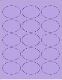 """Sheet of 2.5"""" x 1.75"""" Oval True Purple labels"""