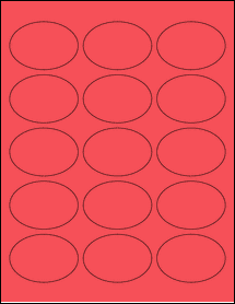 """Sheet of 2.5"""" x 1.75"""" Oval True Red labels"""
