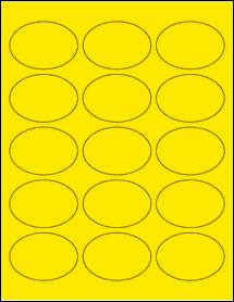 """Sheet of 2.5"""" x 1.75"""" Oval True Yellow labels"""